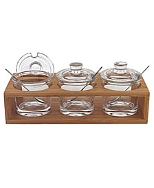 Glass Jam Set with 3 Glass Jars and Spoons on A Wood Stand