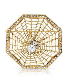 Crystal Wicked Web Spider Brooch Pin