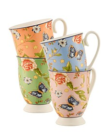 Cottage Garden Footed Mugs, Set of 4