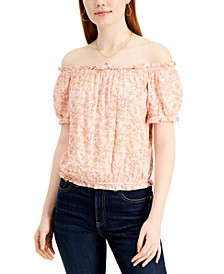 Juniors' Printed Off-The-Shoulder Bubble Top