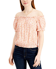 Pink Rose Juniors' Printed Off-The-Shoulder Bubble Top