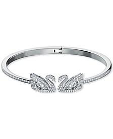 Silver-Tone Pavé & Dancing Stone Swan Bangle Bracelet
