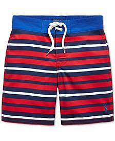 폴로 랄프로렌 남아용 수영복 하의 Polo Ralph Lauren Little Boys Striped Sanibel Swim Trunks,Red Multi