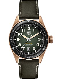 Autavia Men's Swiss Automatic Green Calfskin Leather Strap Watch 42mm