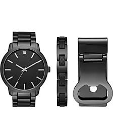 Men's Gunmetal-Tone Bracelet Watch 48mm Gift Set