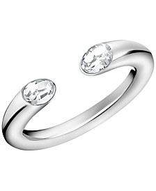 Crystal Cuff Ring in Stainless Steel