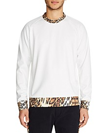 MENS  LEOPARD  CONTRAST CREW NECK PULLOVER