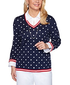 Petite Ship Shape Polka-Dot Layered-Look Sweater