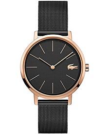 Women's Moon Black Stainless Steel Mesh Bracelet Watch 35mm