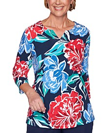 Petite Ship Shape Floral-Print Top