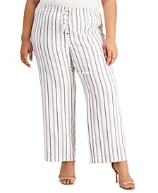 Plus Size Striped Wide-Leg Pants