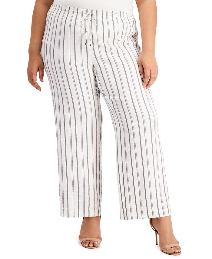 Calvin Klein - Plus Size Striped Wide-Leg Pants