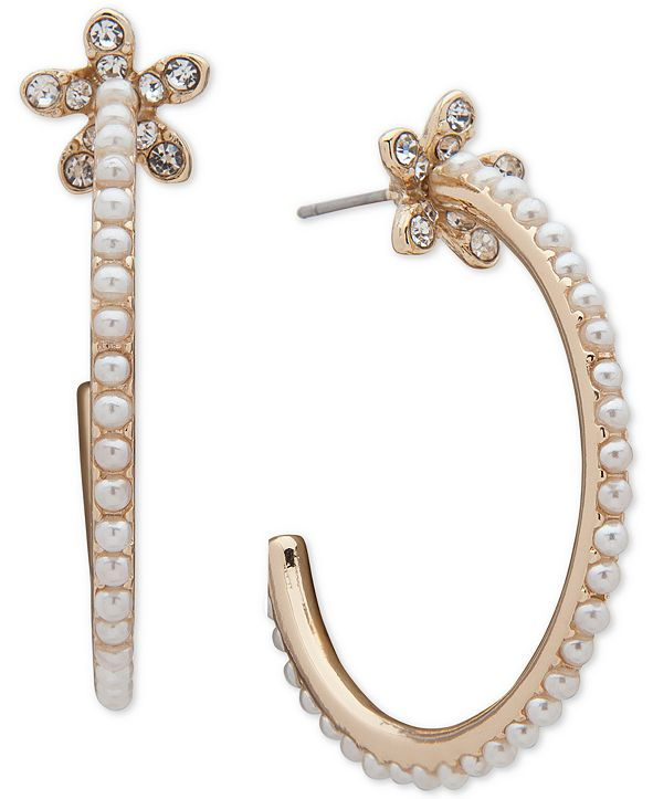 Anne Klein Gold-Tone Imitation Pearl & Pavé Medium Hoop Earrings, 1.5""