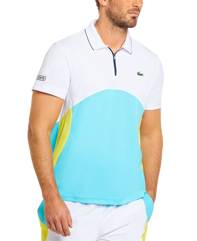 Lacoste Men's Sport Short Sleeve Colorblock Zip Neck Polo Shirt
