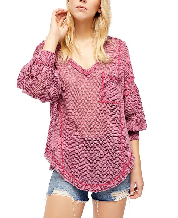 Free People Fresh And New Patch Pocket V-Neck Sweater