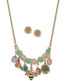 Gold-Tone 2-Pc. Set Bee, Flower & Stone Pendant Necklace & Flower Stud Earrings