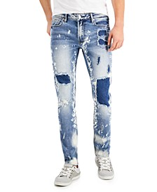 Men's Skinny-Fit Stretch Ripped-And-Repaired Jeans