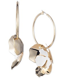Two-Tone Flower Charm Hoop Earrings