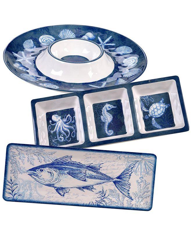 Certified International Oceanic Melamine 3-Pc. Hostess Set
