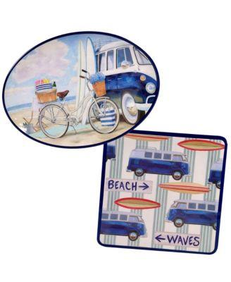 Beach Time Melamine 2-Pc. Platter Set