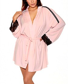 Women's Elegant Knit Ultra Soft Contrast Lace Robe
