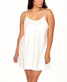 Plus Size Ultra Soft Satin Chemise with Adjustable Straps