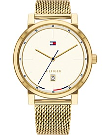 Men's Gold-Tone Stainless Steel Mesh Bracelet Watch 43mm, Created for Macy's
