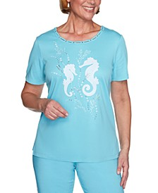 Petite Sea You There Appliqué Embellished Top