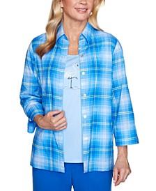 Petite Laguna Beach Plaid Layered-Look Shirt