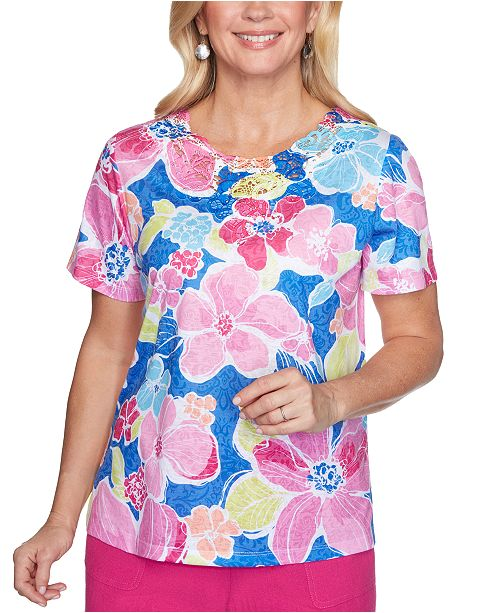 Alfred Dunner Petite Laguna Beach Printed Lace-Neck Top