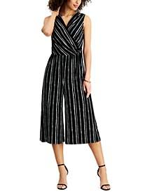 Petite Surplice Striped Jumpsuit