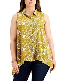 Plus Size Sleeveless Asymmetrical-Hem Shirt