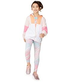 Big Girls Colorblock Windbreaker, Printed Leggings & Graphic T-Shirt, Created For Macy's
