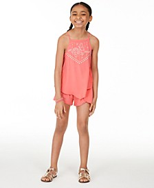 Big Girls Printed Challis Top & Shorts Separates, Created for Macy's