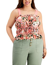 INC Plus Size Floral-Print Ruched Tie-Front Tank Top, Created for Macy's