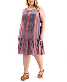 Plus Size Striped Drop-Waist Dress, Created for Macy's