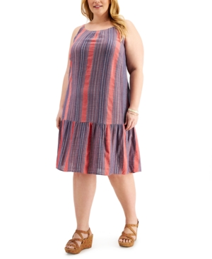1920s Plus Size Flapper Dresses, Gatsby Dresses, Flapper Costumes Style  Co Plus Size Striped Drop-Waist Dress Created for Macys $41.70 AT vintagedancer.com