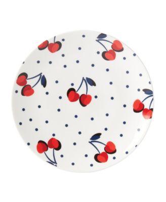 Vintage Cherry Dot Accent Plate