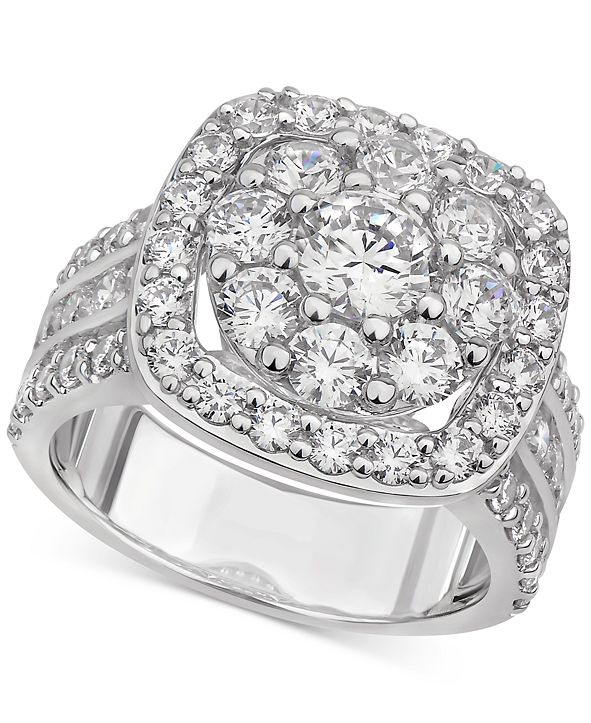 Macy's Diamond Halo Cluster Engagement Ring (3-1/2 ct. t.w.) in 14k White Gold