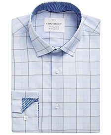 Con.Struct Men's Slim-Fit Non-Iron Performance Stretch Blue Box Check Cooling Comfort Dress Shirt