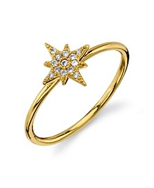 Silver Plated Gold Cubic Zirconia Star Ring
