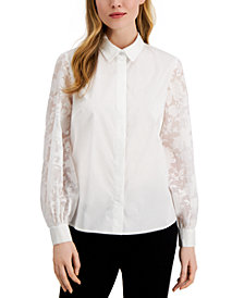 Alfani Lace-Sleeve Button-Up Shirt, Created for Macy's