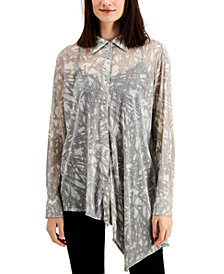 Alfani Printed Asymmetrical Blouse, Created for Macy's