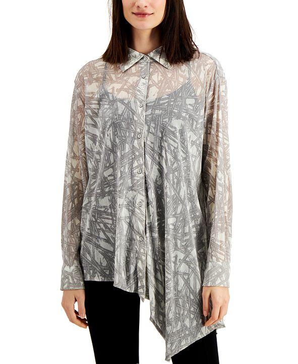 Alfani Printed Asymmetrical Blouse, Created for Macy's