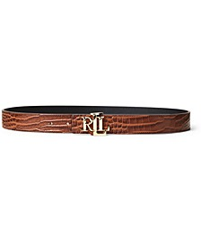 Croc-Embossed Reversible Belt