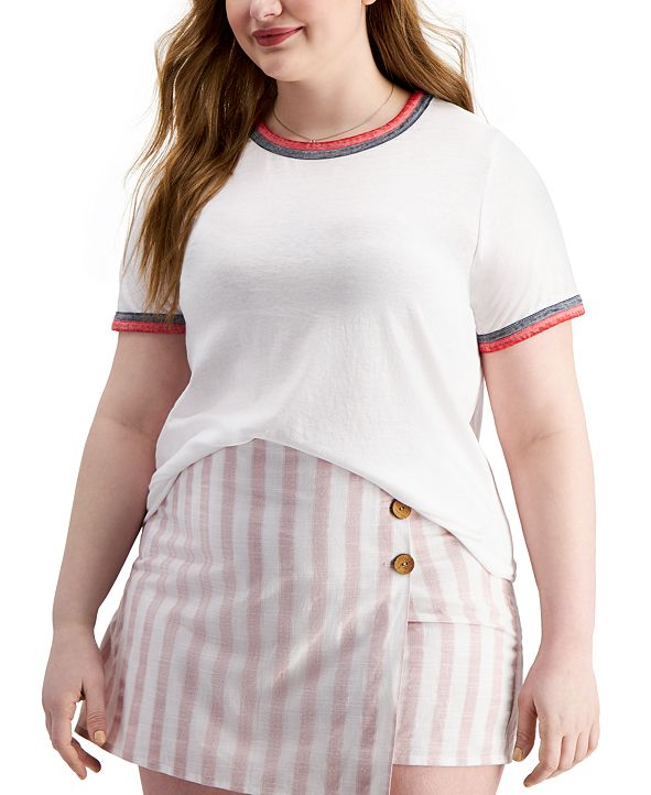 Derek Heart Trendy Plus Size Burnout T-Shirt
