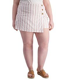 Trendy Plus Size Striped Button-Trim Skort