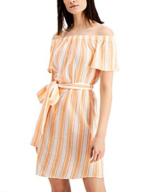 Striped Off-The-Shoulder Cotton Dress, Regular & Petite Sizes