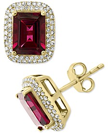 EFFY® Rhodolite Garnet (3-7/8 ct. t.w.) & Diamond (3/8 ct. t.w.) Stud Earrings in 14k Gold