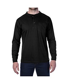 Men's Long Sleeve Henley with Gusset Chest Pocket Knit Shirt